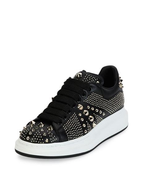 Alexander McQueen Studded Leather Low-Top Sneaker, Black