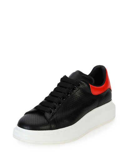 Perforated Leather Low-Top Sneaker, Black/Red