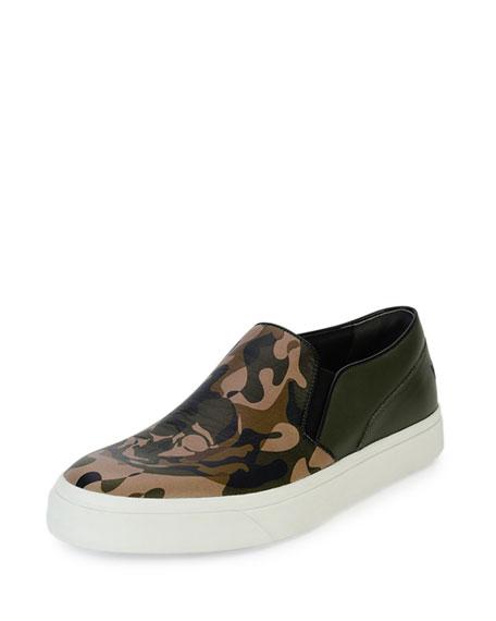Alexander McQueen Camo-Print Slip-On Skate Shoe with Skull