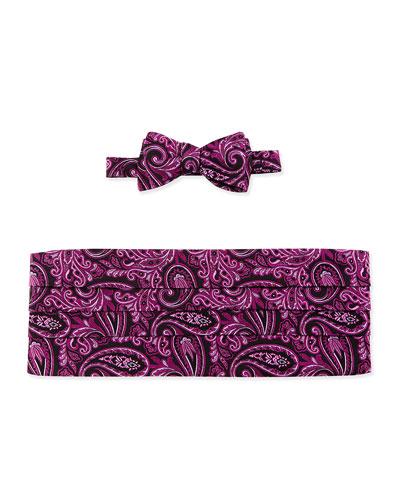 Paisley-Print Cummerbund & Bow Tie Set, Pink
