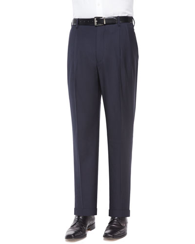 Platinum Wool Dress Pants, Navy