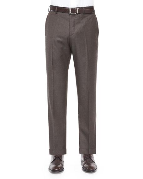 Zanella Parker Flat-Front Super 150's Trousers, Brown