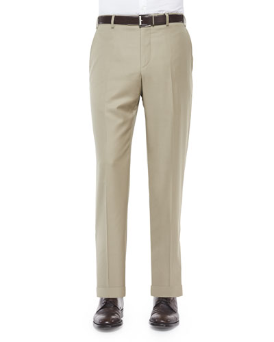 Flat-Front Wool Trousers, Khaki