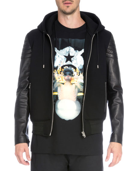 Zip-Up Hoodie with Leather Sleeves, Black