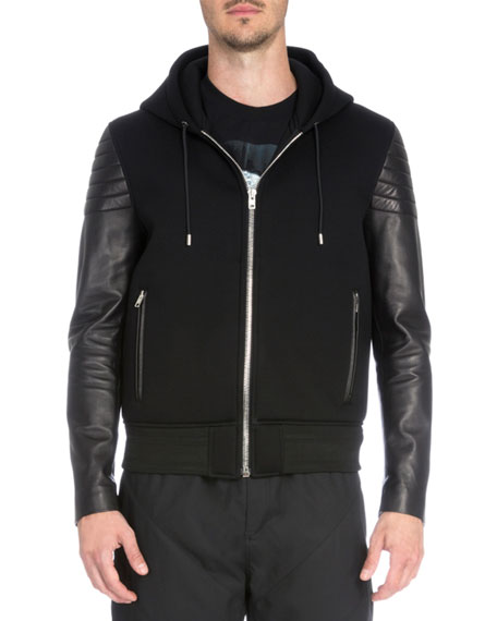 Givenchy Zip-Up Hoodie with Leather Sleeves, Black
