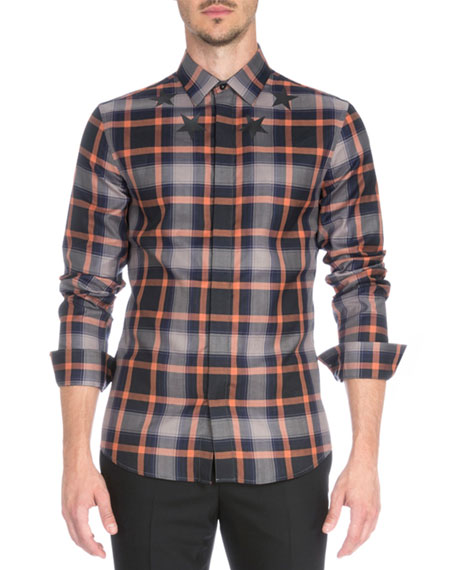 Plaid with Star-Print Woven Shirt, Orange