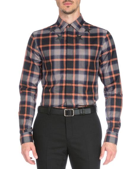 Plaid with Star-Print Woven Shirt, Orange