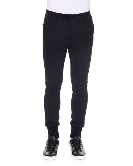 Dolce & GabbanaBiker Knit Sweatpants, Black