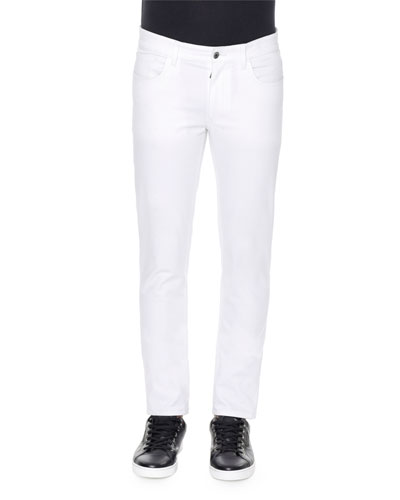 Five-Pocket Stretch Slim Jeans, White