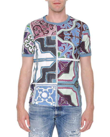 Dolce & Gabbana Majolica-Print Abstract Knit T-Shirt, Multi