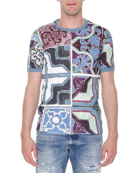 Dolce & Gabbana Majolica-Print Abstract Knit T-Shirt, Multi