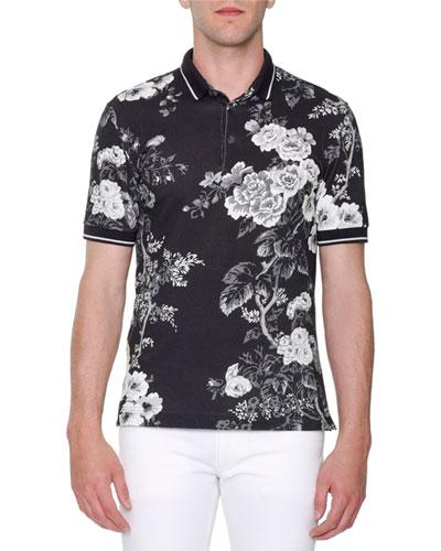 Dolce & Gabbana Rose-Print Pique Polo Shirt, Black/White