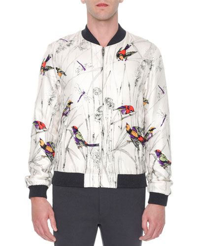 Multi-Bird Print Silk Bomber Jacket, Gray Pattern