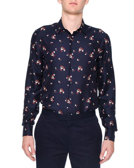 Alexander McQueen Floral-Print Long-Sleeve Shirt, Navy