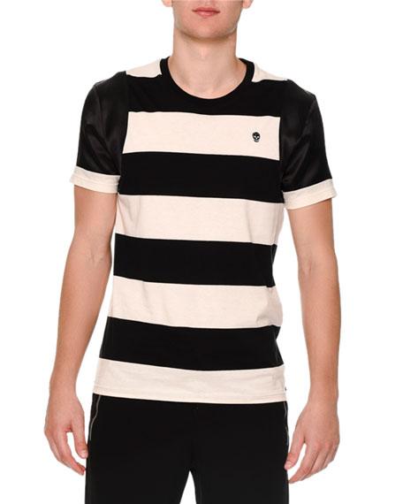 Alexander McQueen Mixed Media Striped Short-Sleeve Shirt, Black/White