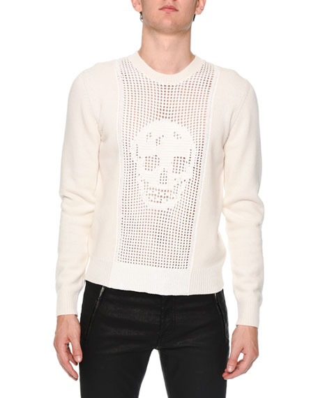 Alexander McQueen Perforated-Skull Long-Sleeve Sweater, Ivory