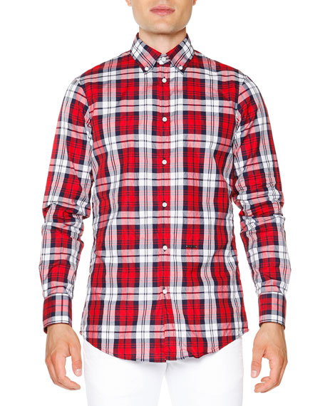 Dsquared2 Multi-Plaid Long-Sleeve Shirt, Red