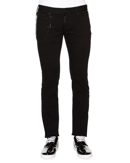 Dsquared2 Slim-Fit Denim Jeans with Chain, Black