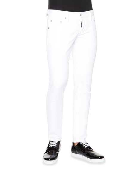 Dsquared2 Clement Skinny-Fit Denim Jeans, White