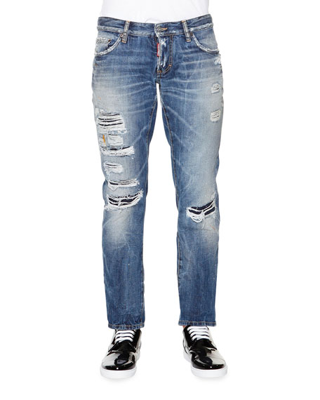 Dsquared2 Slim-Fit Destroyed Denim Jeans, Medium Blue