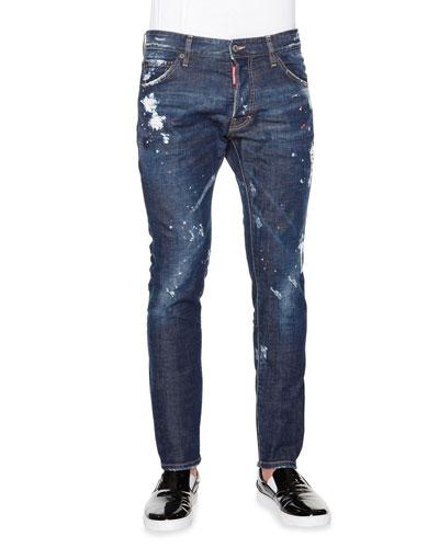 Bleached Paint-Splatter Denim Jeans, Indigo