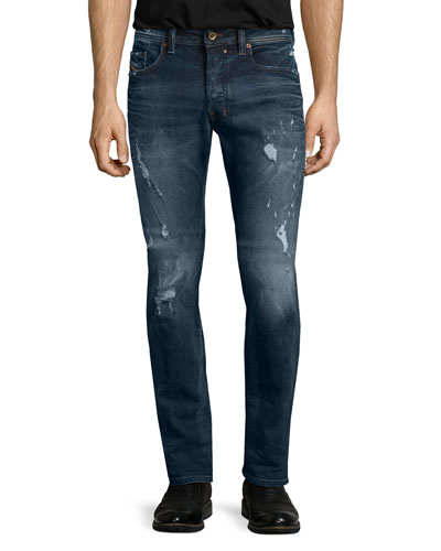 Safado Distressed Straight-Leg Jeans, Blue