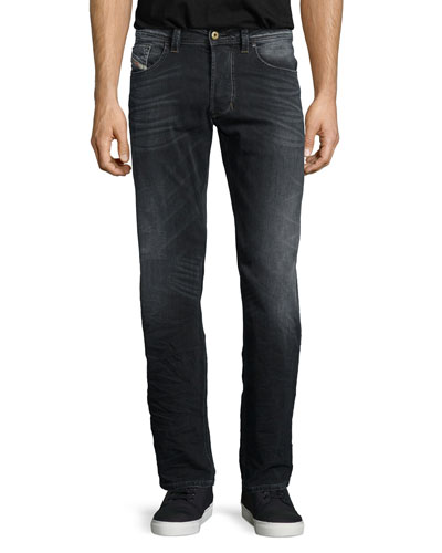 Larkee Washed Straight-Leg Denim Jeans, Gray