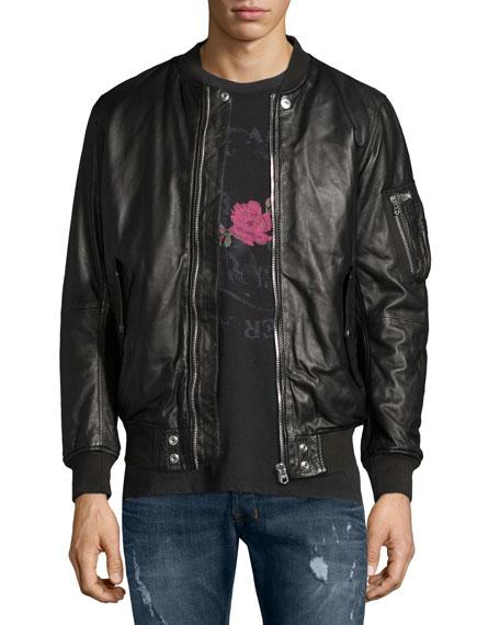 Diesel Leather Bomber Jacket, Black
