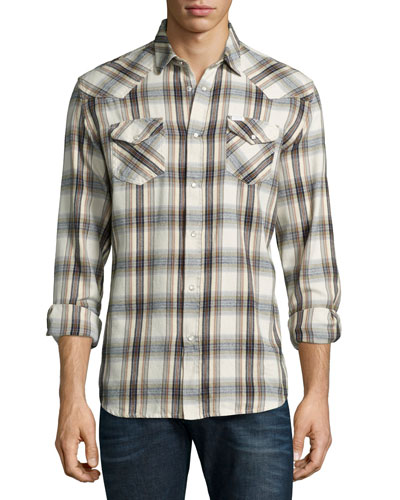 Check Long-Sleeve Flannel Shirt