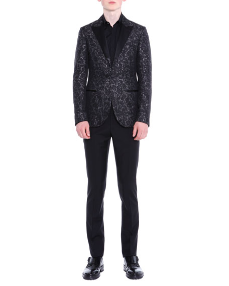 Lanvin Peak-Lapel Jacquard Evening Jacket & Flat-Front Slim-Fit