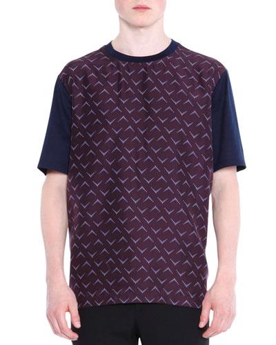 Mixed Media Printed Short-Sleeve T-Shirt, Blue
