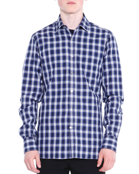Lanvin Shadow-Plaid Long-Sleeve Shirt, Black/Blue