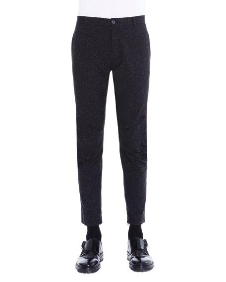 Lanvin Melange Ankle-Zip Biker Pants, Black