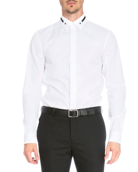 Givenchy Star & Stripe-Collar Button-Down Shirt, White