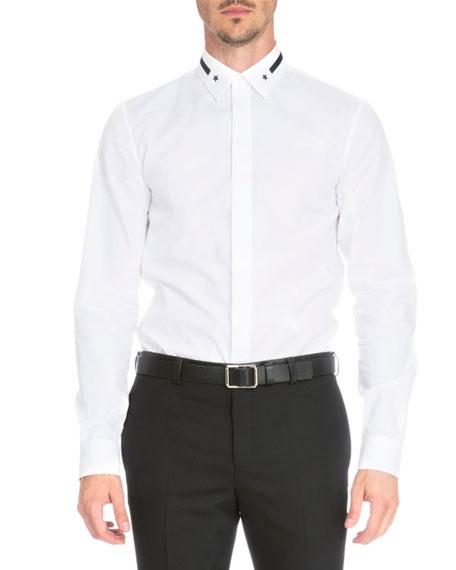 Star & Stripe-Collar Button-Down Shirt, White