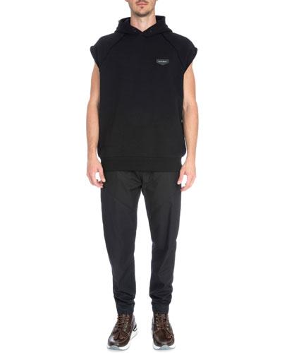 Sleeveless Hooded Pullover Sweater, Black