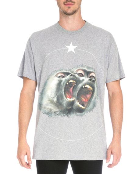 Givenchy Columbian Monkey-Print Jersey T-Shirt, Gray