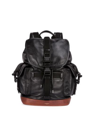 Obsedia Men's Leather Flap Backpack, Black/Brown