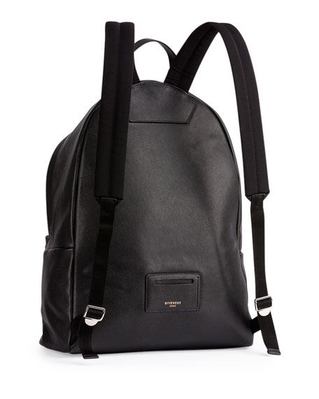 Men's Printed Logo Leather Backpack, Black