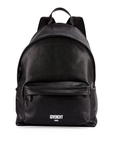 Givenchy Men's Printed Logo Leather Backpack, Black