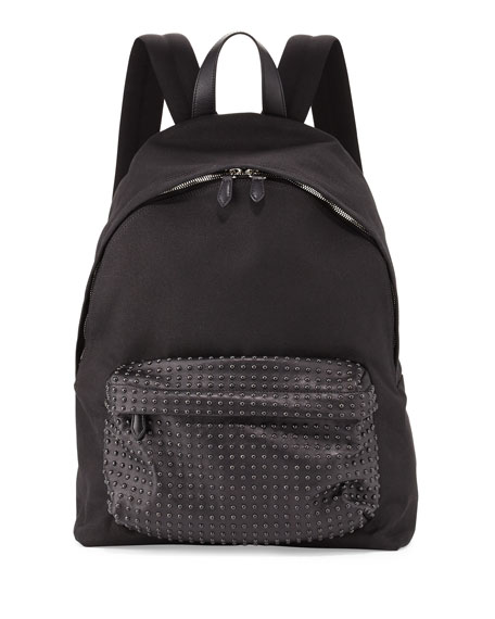 Givenchy Studded-Front Canvas Backpack, Black
