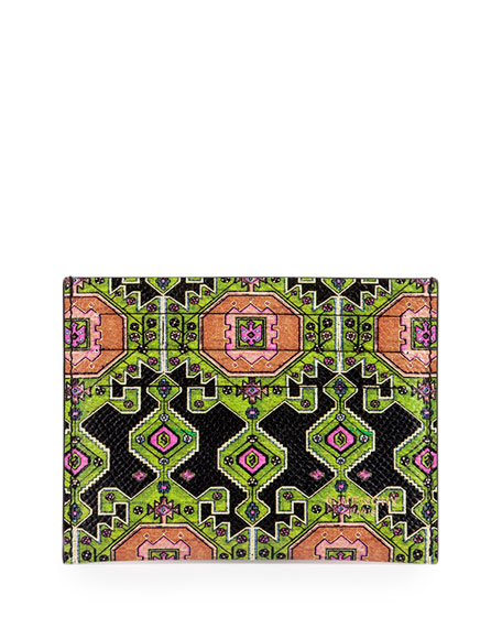 Givenchy Persian-Print Leather Card Case, Green