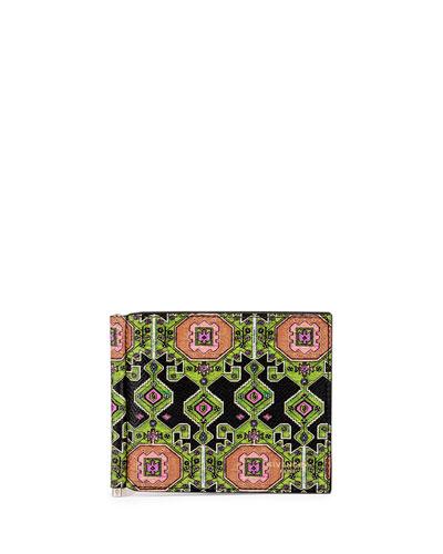 Persian Rug-Print Money Clip Wallet, Green