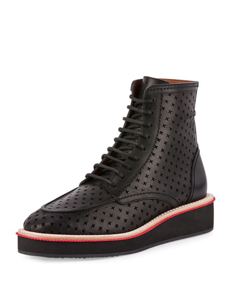 Givenchy Perforated-Cross Platform Boot, Black