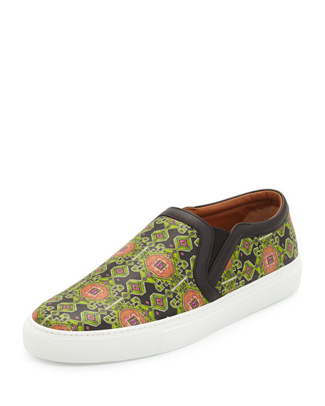 Givenchy Geometric-Print Leather Skate Shoe, Green Multi