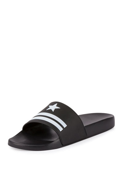 Star & Stripe Rubber Slide Sandals, Black