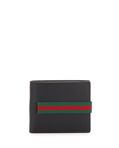 Web Leather Bi-Fold Wallet, Black