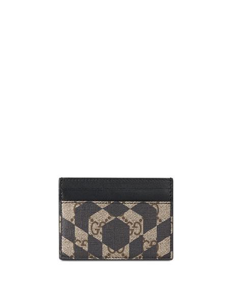 Gucci Canvas GG Caleido Card Case, Black/Beige
