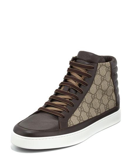 gucci gg supreme canvas hightop sneaker brown neiman