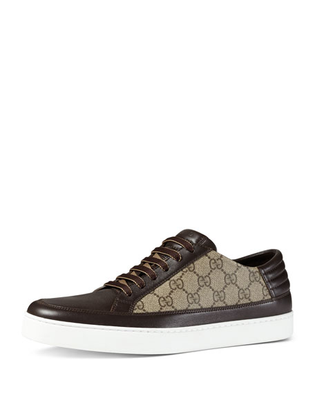 Gucci GG Supreme Leather Low-Top Sneaker, Brown